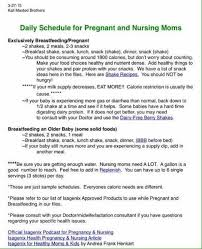 Isagenix Meal Chart Daily Schedule For Pregnant Nursing Moms Isagenix
