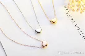 whole simplicity women daily plain heart pendant necklace 18k gold plated rose gold 316l titanium stainless steel chokers necklace coin pendant necklace