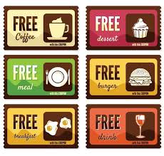 Free Vintage Free Food Coupon Sticker Labels Vector Free