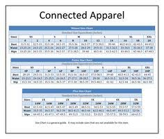 Connected Apparel Size Chart Brand Name Plus Size Charts