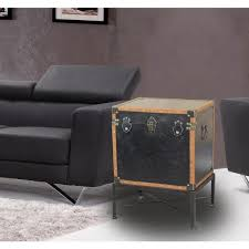 brown faux leather trimmed square storage trunk end table on metal stand