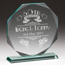 60th anniversary personalised gl plaque
