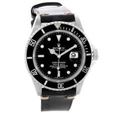 10904 rolex submariner date mens stainless steel leather strap watch 16610 swisswatchexpo