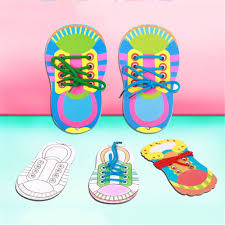 diy kids baby wooden lacing shoes laces tie shoelaces learning educational toy for