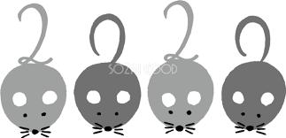 4匹のねずみネズミ 鼠のしっぽがそれぞれ2020 かわいい2020子年