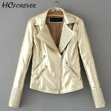 studded leather jackets women faux jacket gold silver pink nk zipper short coat high street fashion new womens moto