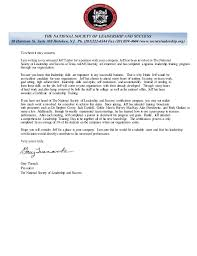 National Society Of Leadership And Sucess Recommendation Letter
