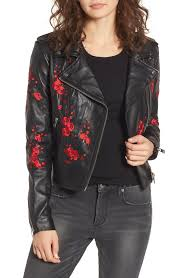 lamarque women s black embroidered leather moto jacket