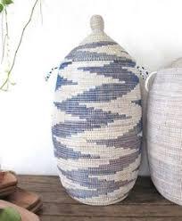 Handmade Laundry Basket (XL) in white & blue zebra / Laundry Hamper /  Storage