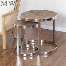 wooden top chrome round nesting tables manufacturers whole timeless