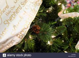 A Lit Up Green Christmas Tree Decorated With Pine Cones And
