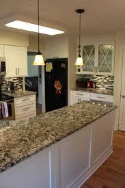 Giallo Veneziano Granite Kitchen Brauch Custom Cabinetry Maple Shaker Door Panel Painted Snow