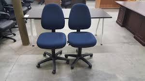 blue armless adjule rolling office task chairs
