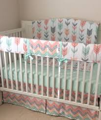 peach gray and mint arrows crib bedding by erbeansboutique