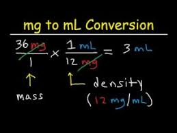 mg to ml convert millgrams to millliters conversion
