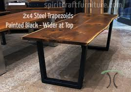 Steel table legs Height Custom Made Steel Trapezoid Legs Painted Black On Live Edge Ash Table Spiritcraft Furniture Table Legs And Bases For Hardwood Slab Table Tops