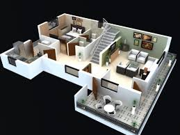 remarkable 3 bedroom house floor plan 3d home designs 2 story