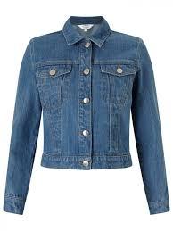 miss selfridge cropped denim jacket blue dcx 63611
