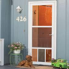 aluminum screen door. Shop LARSON Petview White Mid-View Tempered Glass Aluminum Pet Door Storm (Common Screen