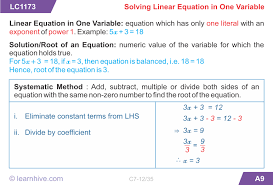 mathematics linear equations and inequations