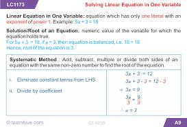 mathematics linear equations and inequations