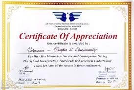 Certificate Of Appreciation Volunteer Work Air Force Wives Welfare Association Presented A Certificate