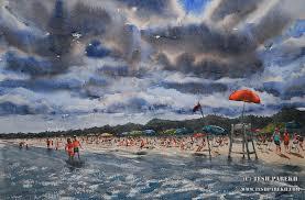 myrtle beach sc watercolor painting by raleigh nc fine artist tesh parekh art