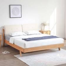 Nara American Oak Wood Bed Frame with Cushions (Beige ...