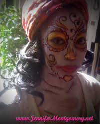 pink and gold sugar skull face painting philadelphia