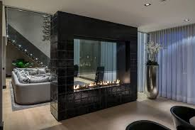Interior:Modern Minimalist Living Room With Glass Fireplace And Drum Shape  White Standing Lamp Decor