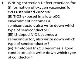 writing correction defect reactions for i for com writing correction defect reactions for i formation of oxygen vacancies for y2o3