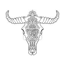 Fototapeta Mandala Tetování Ve Stylu Mrtvé Krávy Dekorativní Ornament Buvolí
