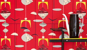 Telephone apparatus, 50s retro street device isolated object vector. 50s Wallpaper By Sanderson Design Sponge