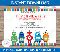 party invite templates free robot party invitations template