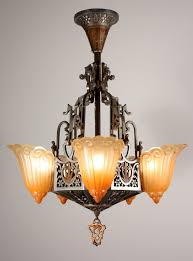 art deco chandelier for antique five light slip shade by lincoln decorations 11