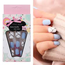 Us 0 31 45 Off 24pcs Set White Light Blue Fake Nail Frost Matte Marble Square Artificial Nail Art Tips With Glue Sticker Home Faux Nails Art In