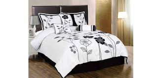 white grey and black lily with leaf applique king size duvet cover set king size duvet cover