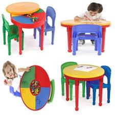detalles acerca de round plastic construction table 2 chairs play legos kids dining building blocks