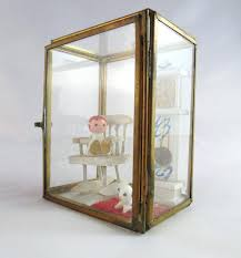 vintage brass and glass wall hanging miniatures dollhouse wall art display box from on studio nice