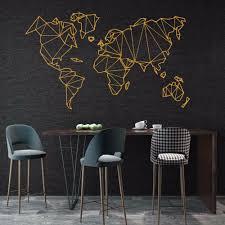 2019 Nieuwe Geometrische Wereldkaart Muursticker Vinyl Mural