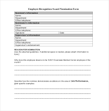 Employee Recognition Nomination Form Template Employee Recognition