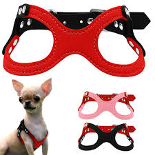 soft suede leather small dog harness for puppies chihuahua yorkie red pink black ajustable chest 10 13
