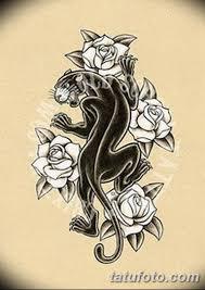 черно белый эскиз тату с черной пантерой 11032019 008 Tattoo