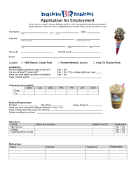 fast food and resturant job application form templates baskin robbins application for employment form