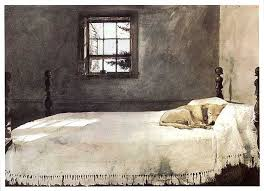 Vintage Master Bedroom By Andrew Wyeth Dog Sleeping On Bed Framed Print  ~Large Framed