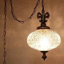 vintage hanging light lamp glass globe chain cord swag pendant