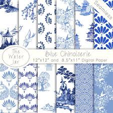 Blue China Pattern Enchanting Chinoiserie Wallpaper China Blue Digital Paper Pack Etsy