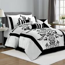 Amazon.com: Chezmoi Collection 7-Piece White with Black Floral Flocking  Comforter Set Bed-in-a-Bag for Queen Size Bedding, 90 by 92-Inch: Home &  Kitchen