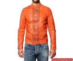 arrow men orange multi zip biker nappa leather jacket uujhyt5 zoom helmet