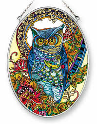 hoot owl amia stained glass suncatcher 5 5 x 7 oval 42452 for